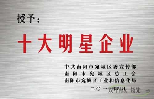 南阳市12博12bet官网12博体育网站有限公司十大明星企业