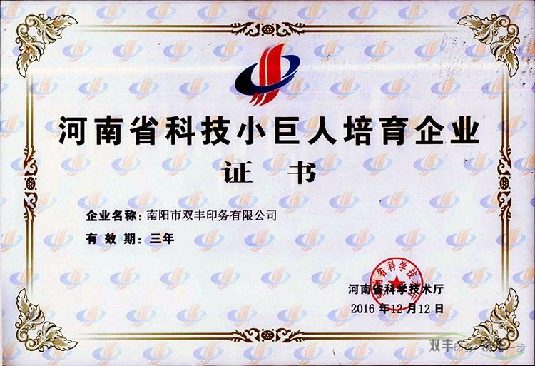 双丰印务荣获河南省科技小巨人培育企业证书